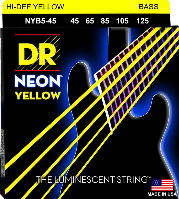 DR Neon Ylw Bass Guitar 5Strings 45-125 - Dynamic Music Distribution