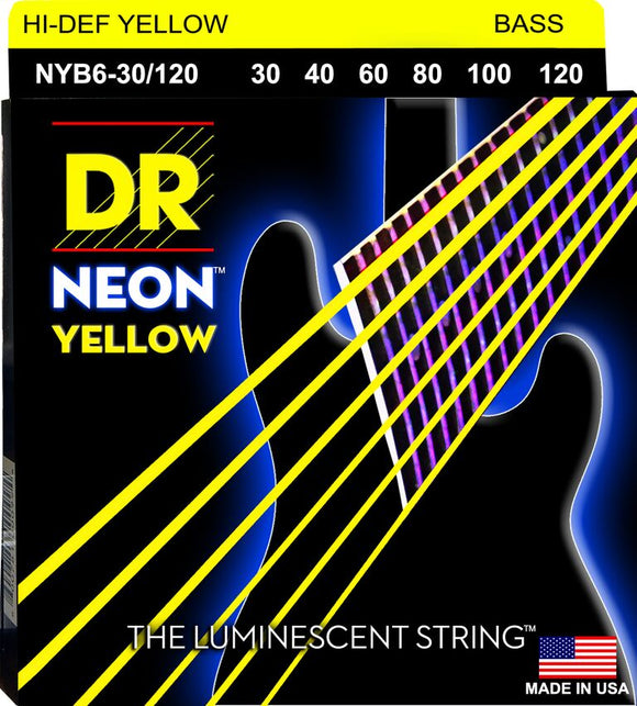 DR Neon Ylw Bass Guitar 6Strings 30-120 - Dynamic Music Distribution