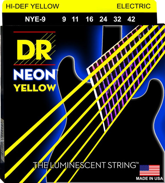 DR Neon Ylw Electric Guitar Strings 9-42 - Dynamic Music Distribution