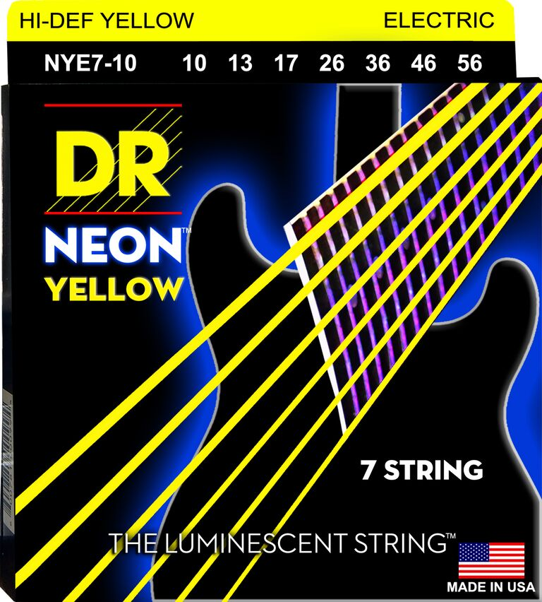 DR Neon Ylw Electric Guitar 7Strings 10-56 - Dynamic Music Distribution