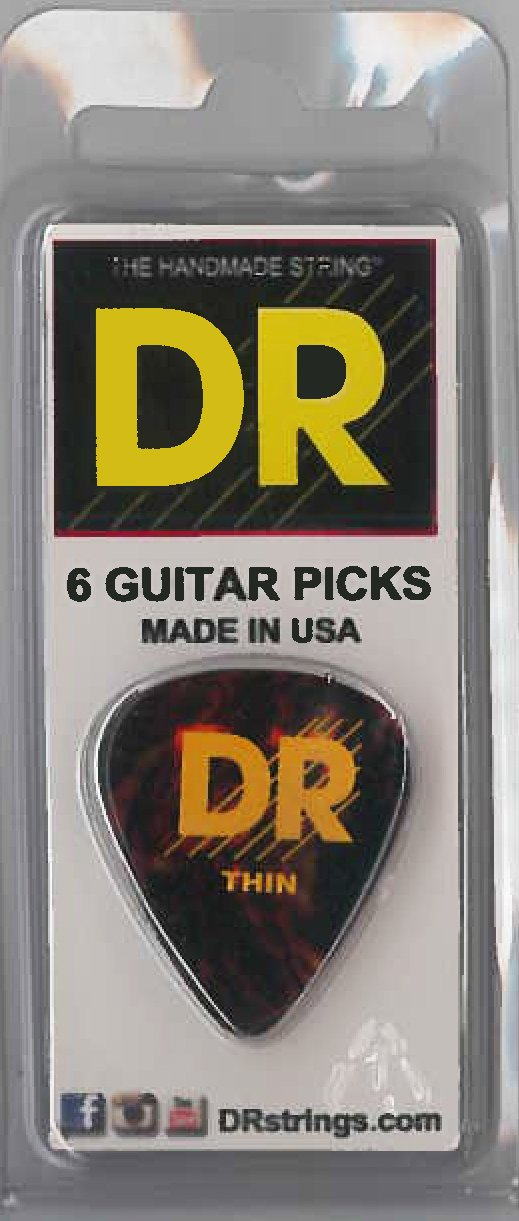 DR Tort Cell Pick 6Pc Pk Thin - Dynamic Music Distribution