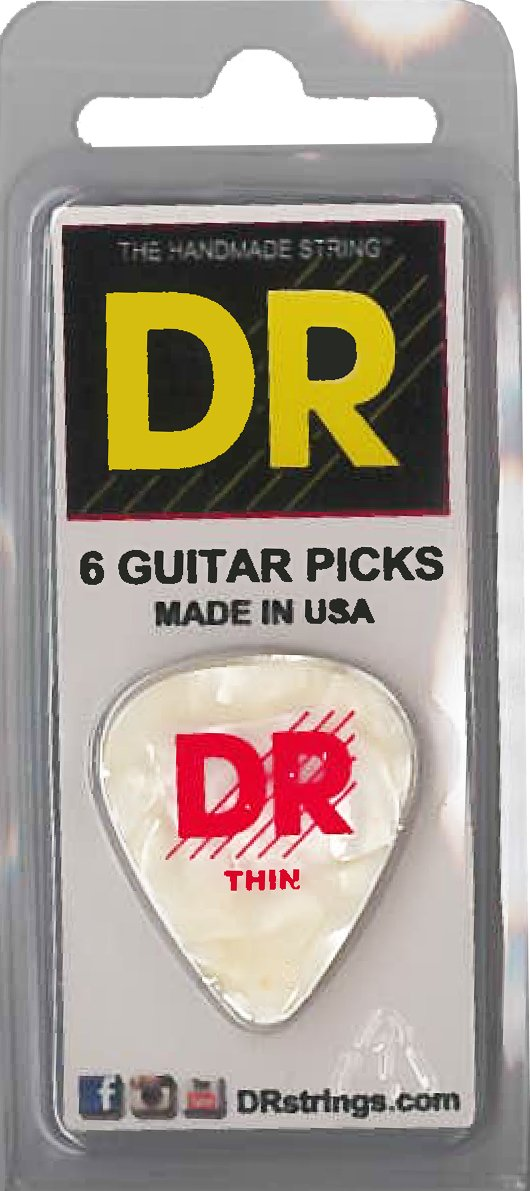 DR White Pearl Pick 6Pc Pk Thin - Dynamic Music Distribution