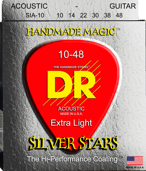 DR Silver Stars Acoustic Guitar Strings 10-48 - Dynamic Music Distribution