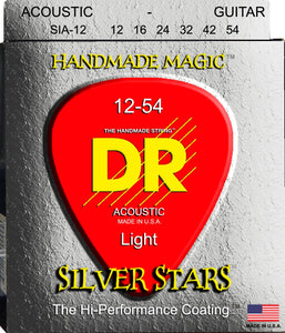 DR Silver Stars Acoustic Guitar Strings 12-54 - Dynamic Music Distribution