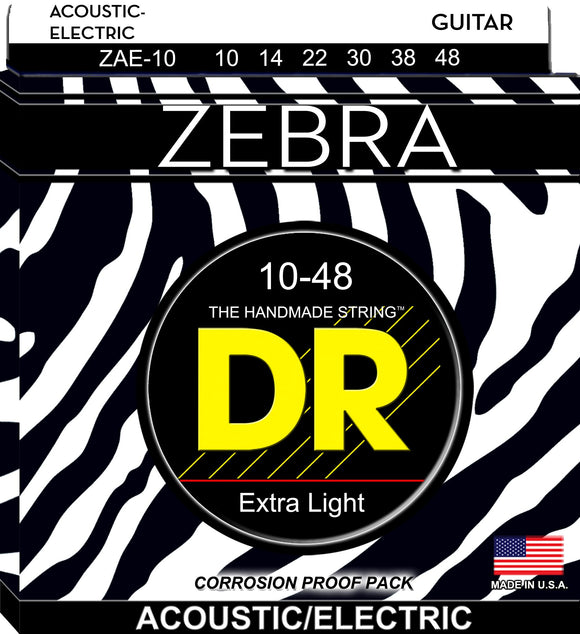 DR Zebra Acoustic Guitar-Electric Guitar Strings 10-48 - Dynamic Music Distribution