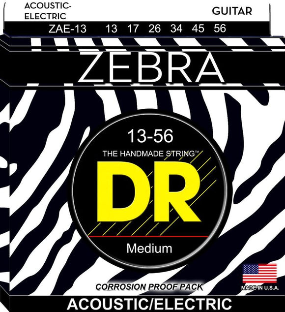 DR Zebra Acoustic Guitar-Electric Guitar Strings 13-56 - Dynamic Music Distribution