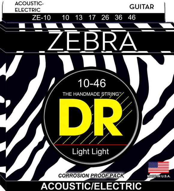 DR Zebra Acoustic Guitar-Electric Guitar Strings 10-46 - Dynamic Music Distribution