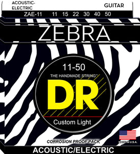 DR Zebra Acoustic Guitar-Electric Guitar Strings 11-50 - Dynamic Music Distribution