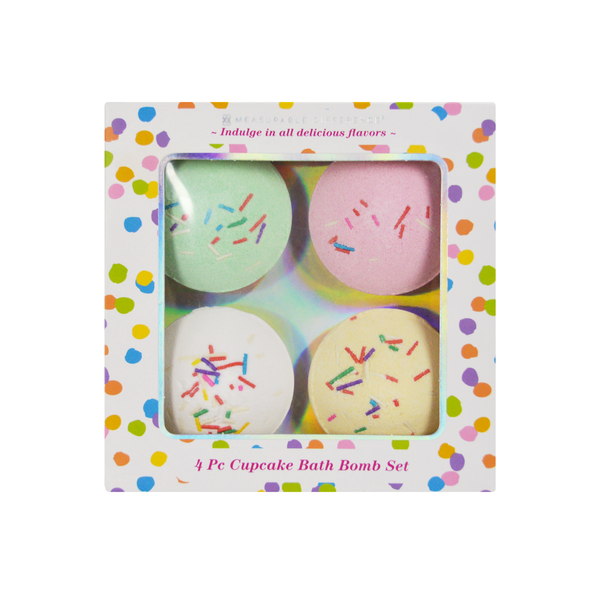 4 PC Birthday Cupcake Bath Bomb Set