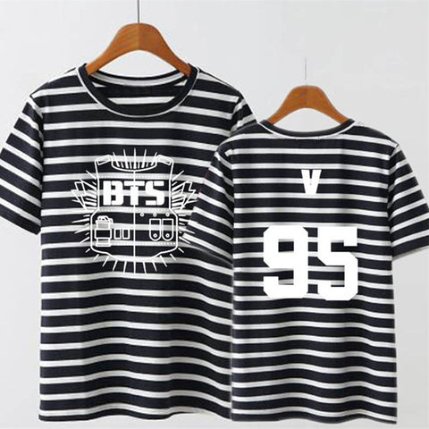 BTS Kpop Striped Member Shirt - theidolshop
