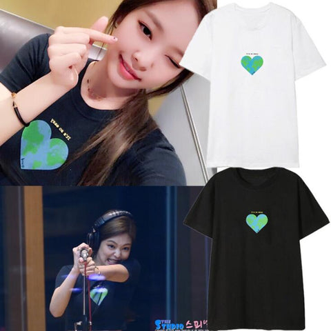 Kpop BLACKPINK Jennie Heart Shirt - theidolshop