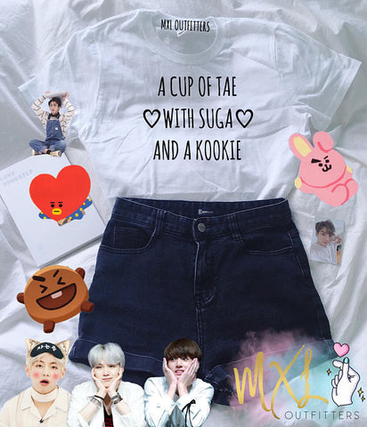 "K-Pop BTS ""A Cup of Tae with Suga and a Kookie"" Shirt"