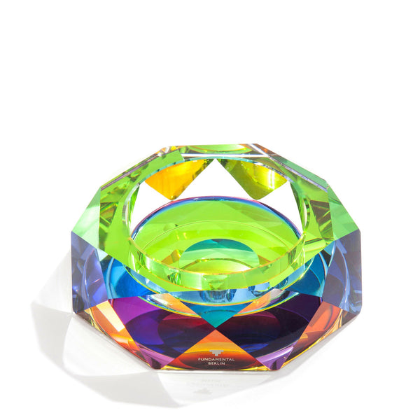 iridescent octagon shaped ashtray