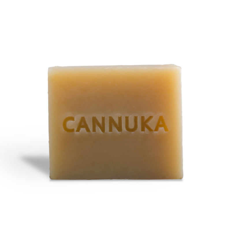 Brown soap bar with Cannuka name carved in