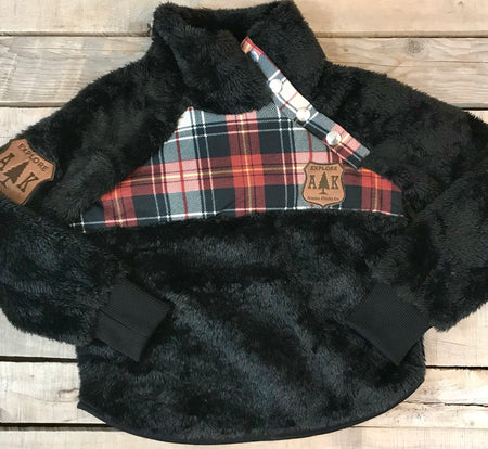 Girl's Plaid Fuzzy Pullover