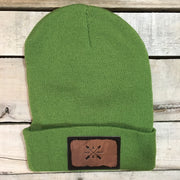 Winter hat with leather arrow patch