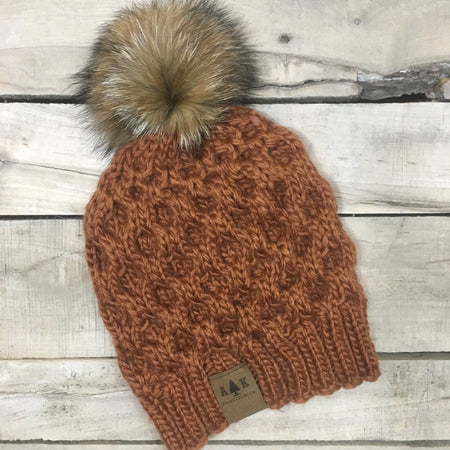 AK Chicks Faux Fur Puff Knit Hat