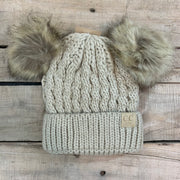 Girl's Double Pom Hat - faux fur puffs
