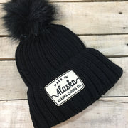 Knit Hat with Puff - Made in Alaska Patch