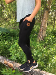 Leather Patch Active Leggings - super high waist