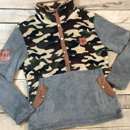 Camo 1/2 Snap Pullover - Flash Sale - All sales final