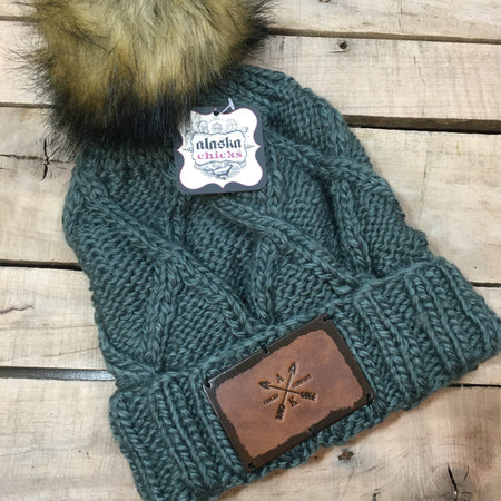 Cross Knit Faux Puff Hat