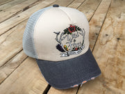 Short Bill Gray Trucker Hat