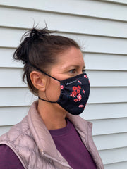 Florals and Plaid Face Mask with wiring - behind the head straps