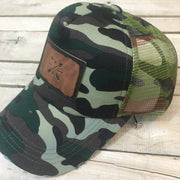 Camo Leather Patch Trucker Hat