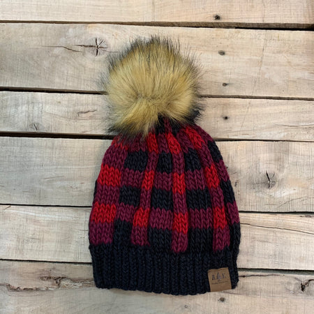 Plaid fleece lined with fur