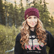 Knit Alaska Chicks Hat with Leather Patch