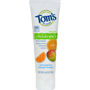 Tom's Of Maine Children's Natural Fluoride Toothpaste Outrageous Orange Mango - 4.2 Oz - Case Of 6