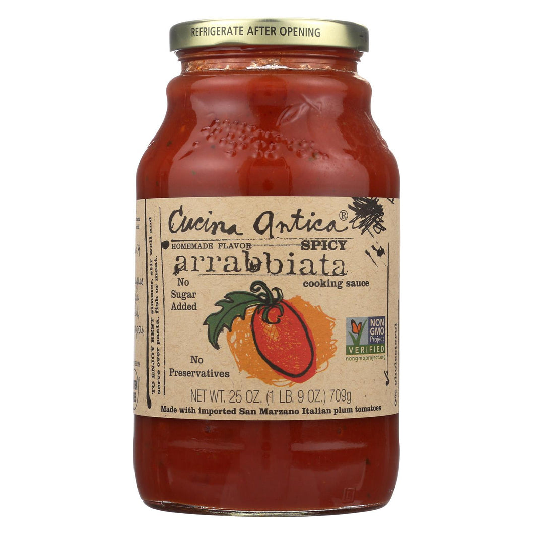 Cucina Antica Spicy Arrabbiata Cooking Sauce - Case Of 12 - 25 Oz.