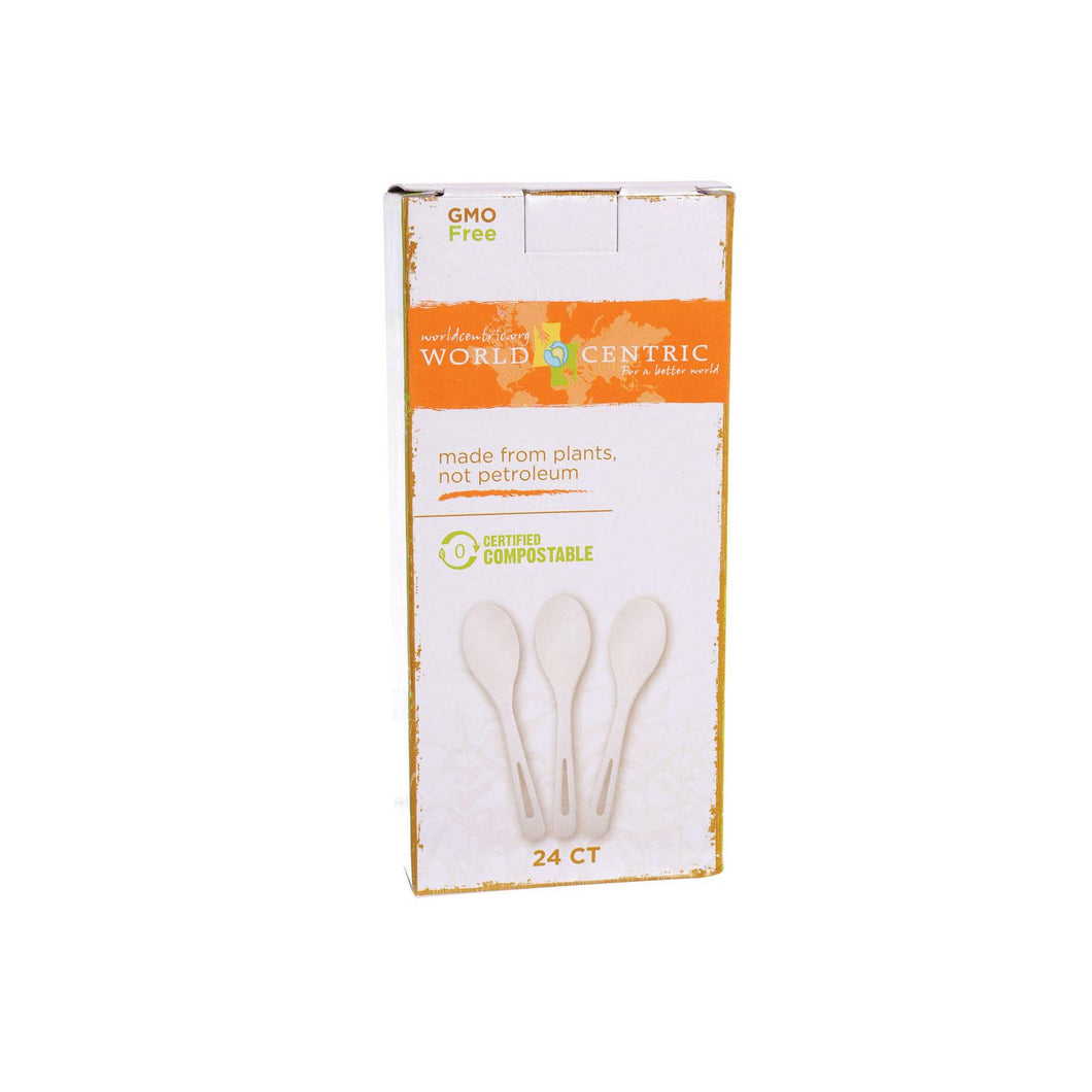 World Centric Cornstarch Compostable Spoon - Case Of 12 - 24 Count