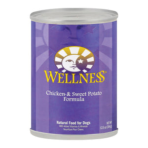 Wellness Pet Products Dog Food - Chicken And Sweet Potato Recipe - Case Of 12 - 12.5 Oz.