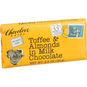 Chocolove Xoxox Premium Chocolate Bar - Milk Chocolate - Toffee And Almonds - 3.2 Oz Bars - Case Of 12