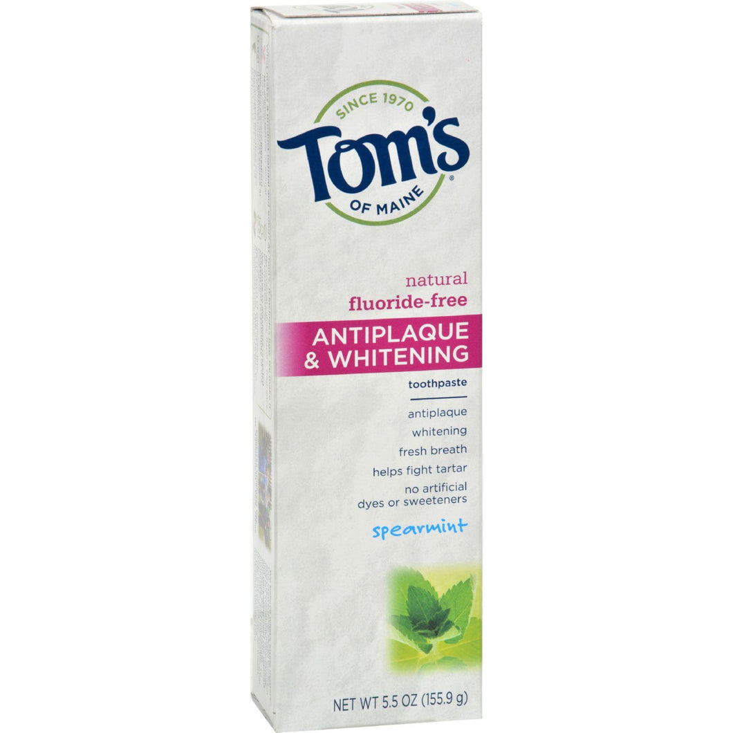 Tom's Of Maine Antiplaque And Whitening Toothpaste Spearmint - 5.5 Oz - Case Of 6