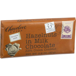 Chocolove Xoxox Premium Chocolate Bar - Milk Chocolate - Hazelnuts - 3.2 Oz Bars - Case Of 12