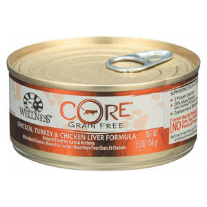 Wellness Pet Products Cat Food - Core Chicken - Turkey And Chicken Liver - Case Of 24 - 5.5 Oz.