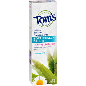 Tom's Of Maine Botanically Bright Whitening Toothpaste Spearmint - 4.7 Oz - Case Of 6