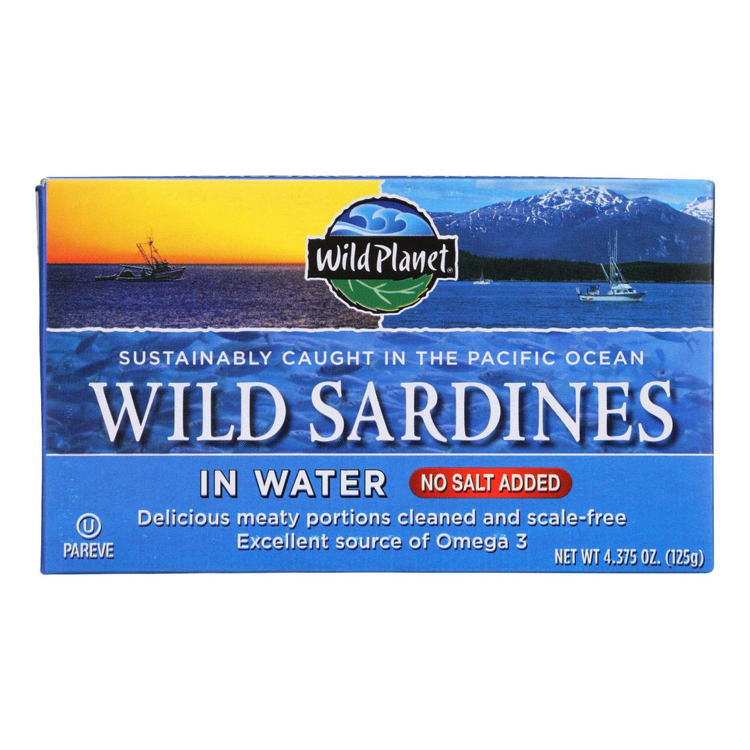 Wild Planet Sardines In Water - Case Of 12 - 4.375 Oz.
