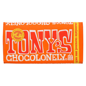 Tony's Chocolonely Bar - Milk Chocolate Caramel Sea Salt - Case Of 15 - 6 Oz.