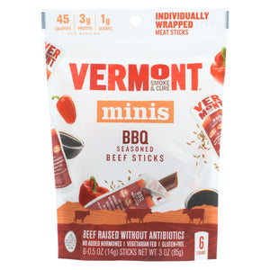 Vermont Smoke And Cure Beef Stick - Bbq - Case Of 8 - 6-.5 Oz