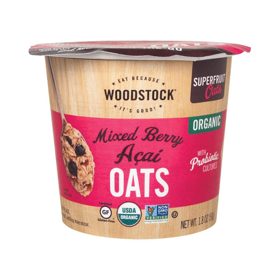 Woodstock Organic Oat Cup - Mixed Berry Acai - Case Of 12 - 1.8 Oz.