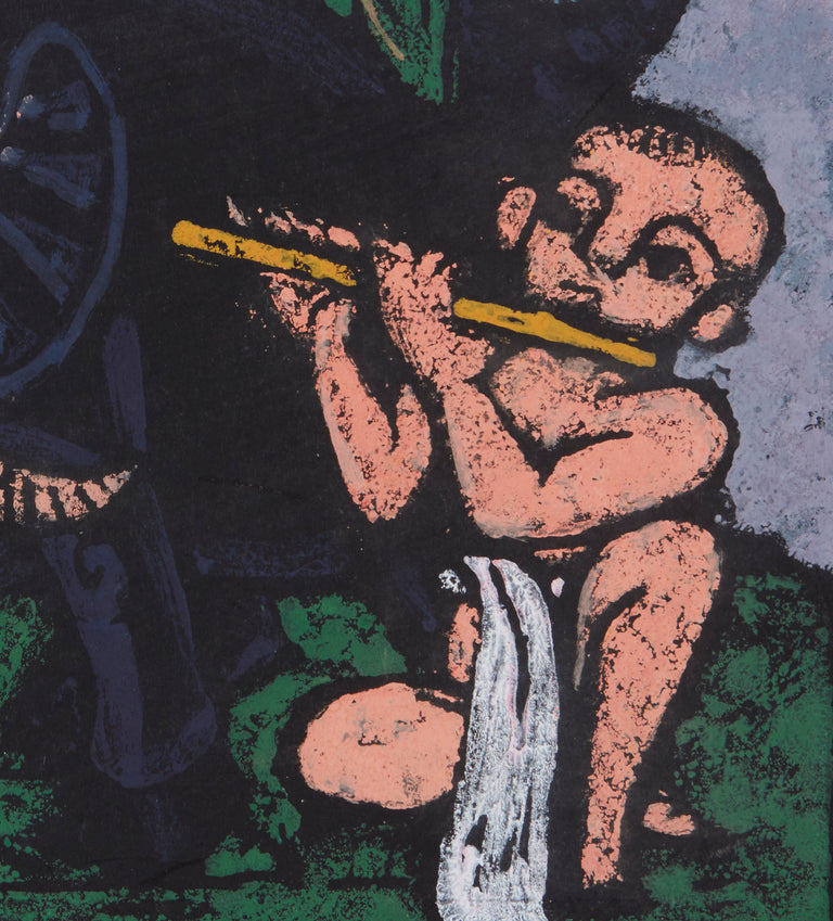 Boy Playing Flute And An Ox