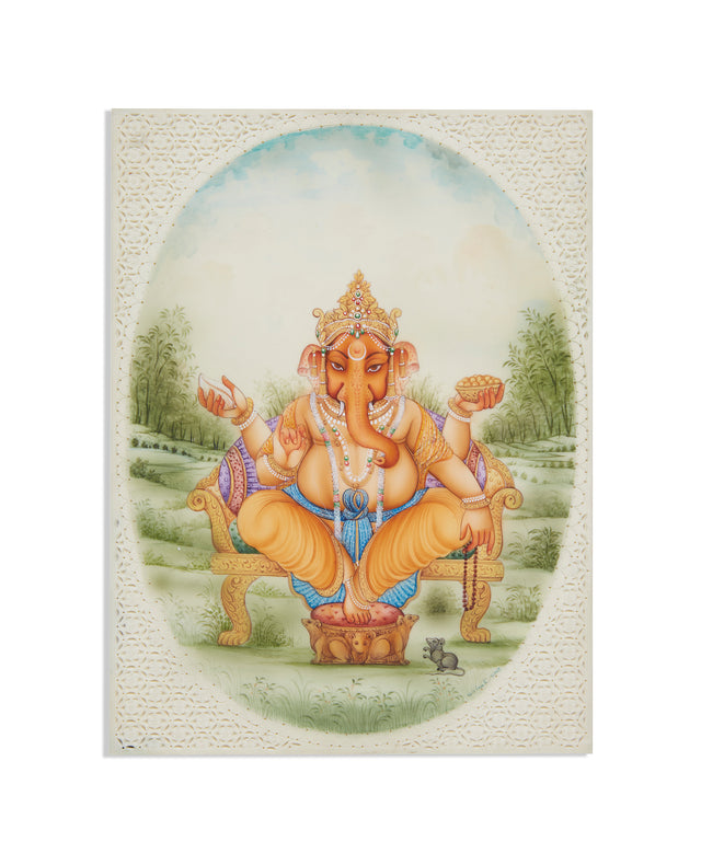 Ganesha Gemstone Painting Of Rajasthan