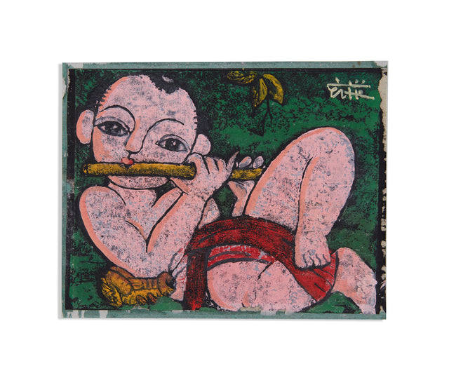 Boy Playing Flute And Grasshopper