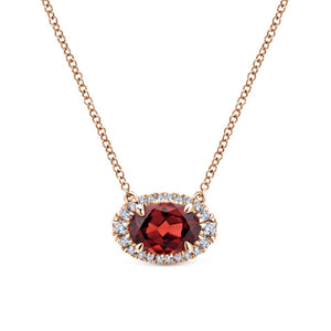Gemstone & Diamond Rose Gold Necklace