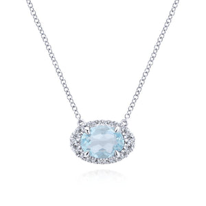 Gemstone & Diamond White Gold Necklace