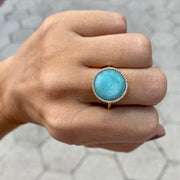 Turquoise & Diamond Yellow Gold Fashion Ring